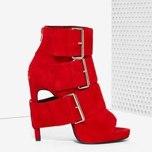 Jeffrey Campbell Cinturon Red Suede Platform Boot